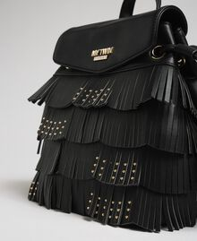 Faux leather backpack with fringes and studs Black Woman 192MA7022-03