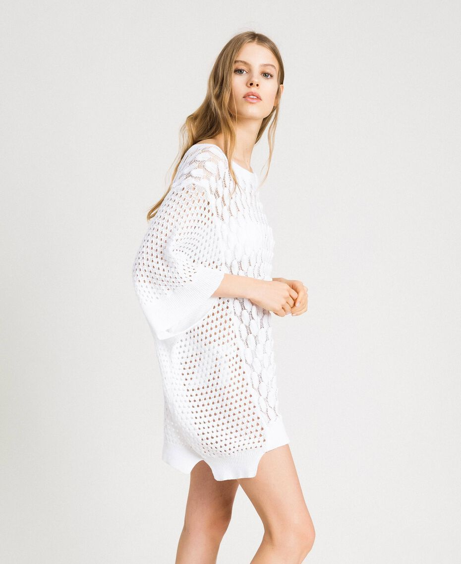 Poncho in maglia traforato Bianco Donna 191LB3GBB-02