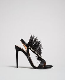 Satin sandals with feathers Black Woman 192TQP050-04