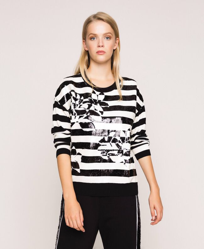 "Full sequin striped jumper Black / ""Snow"" White Stripes Woman 201TP3172-03"