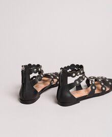Leder-Sandalen mit Nieten Schwarz Frau 191TCP04C-04