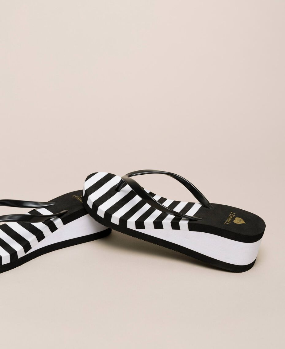 Striped thong sandals with wedge Two-tone Black / Optical White Woman 201LMPZWW-02