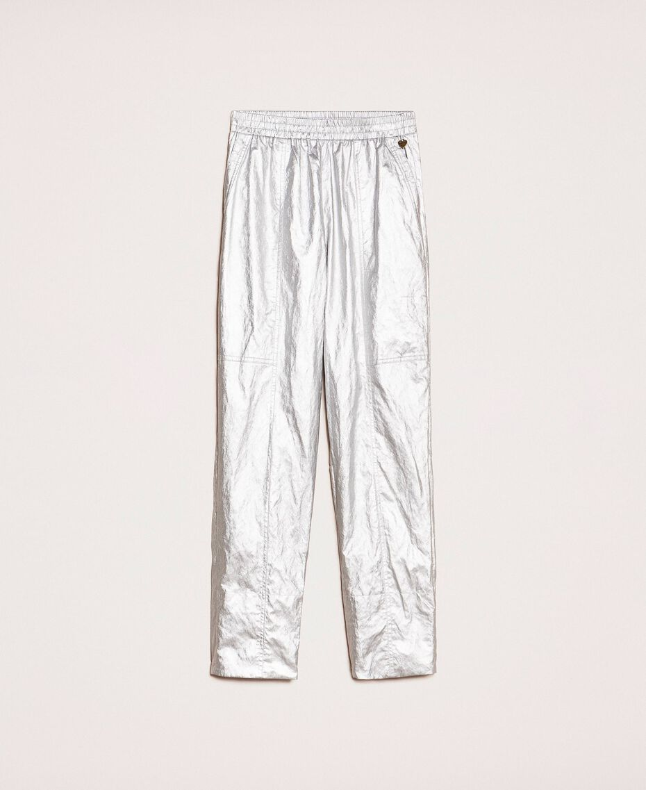 Laminated elasticated trousers Silver Woman 201TP2400-0S