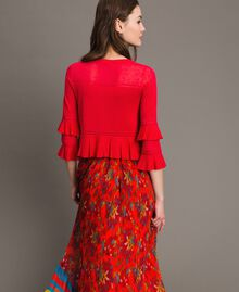 "Crêpe yarn flounced cardigan ""Lipstick Red"" Woman 191TT3020-03"