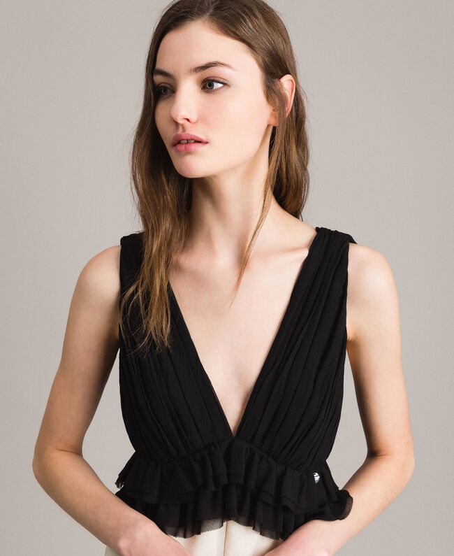 Two-tone satin and georgette jumpsuit Two-tone Ecru / Black Woman 191ST2191-04