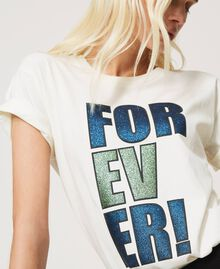 """T-shirt with glitter print """"Forever Mid Blue"""" / """"Off White"""" Floral Print Woman 202MP241B-04"""
