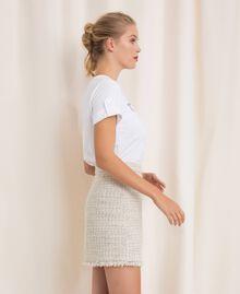 Bouclé fabric short skirt Multicolour Ivory / Silver Grey Woman 201TP2245-03