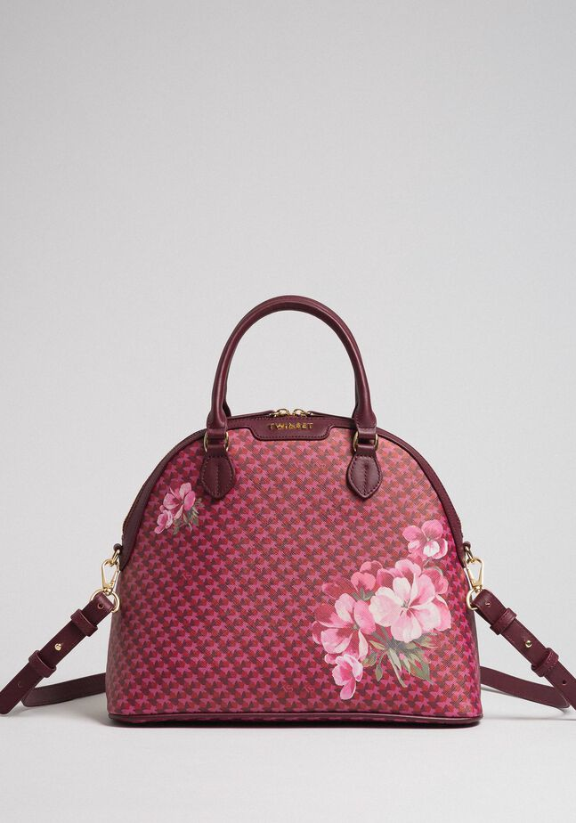 Faux leather printed bowler bag