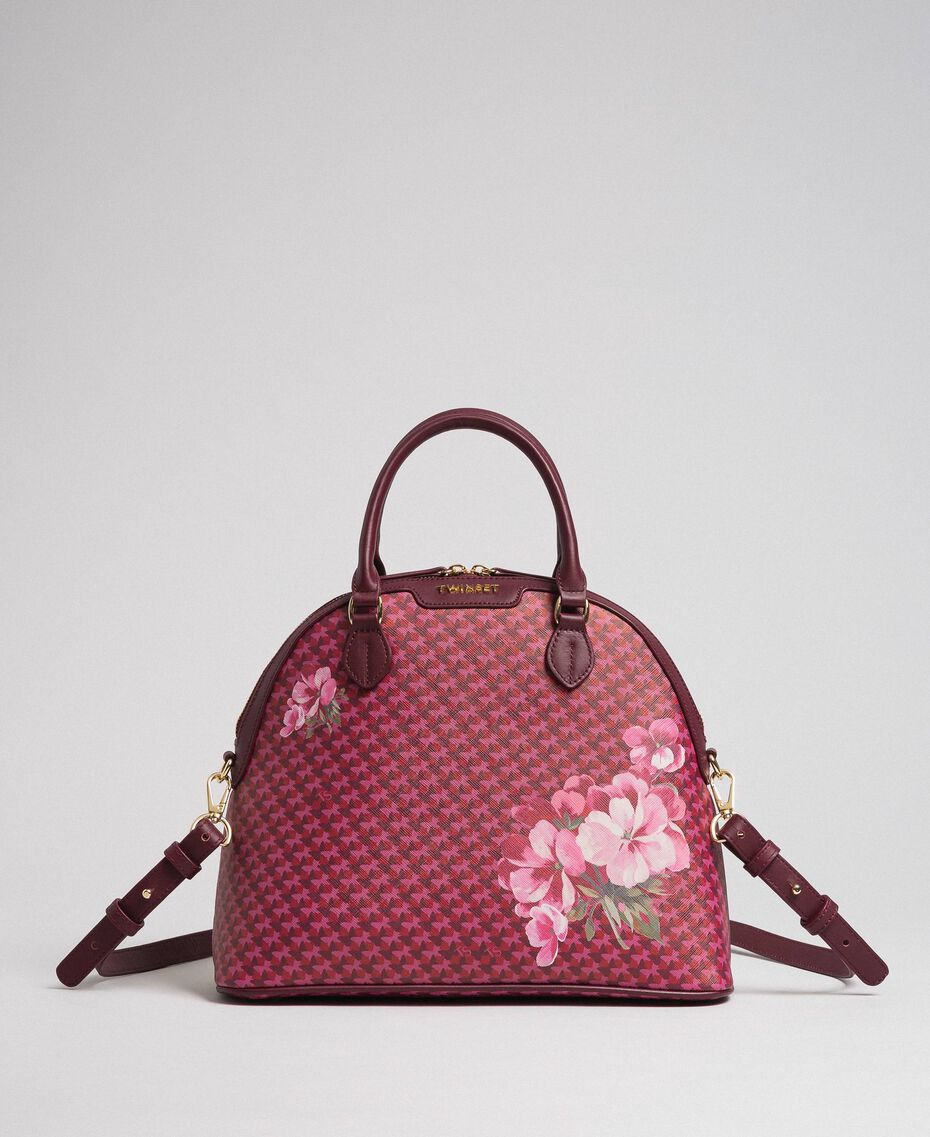 Faux leather printed bowler bag Beet Red Butterfly Floral Print Woman 192TA7015-01