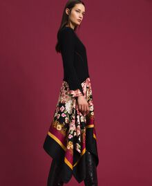 Dress in mohair and printed twill Black / Scarf Print Woman 192TP3060-02
