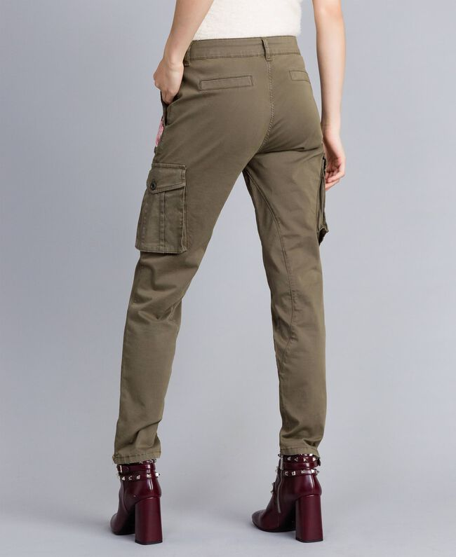 Pantaloni combat slim in cotone Verde Alpino Donna JA82ED-03