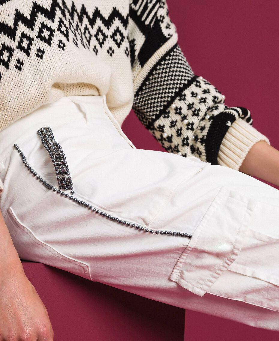 Combat trousers with stones and studs White Snow Woman 192TP2583-01