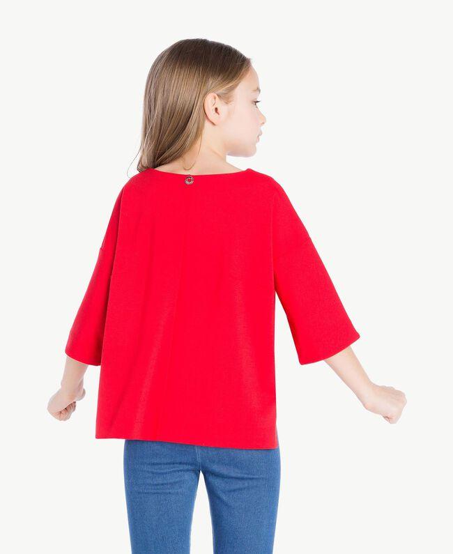 "Printed sweatshirt Two-tone Pomegranate Red / ""Papyrus"" White Child GS82KA-04"