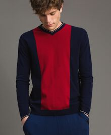 "Crêpe cotton jumper with inlay pattern Multicolour ""Blackout"" Blue / ""Dark Raspberry"" Red / Beige Porcelain Man 191UT3020-02"