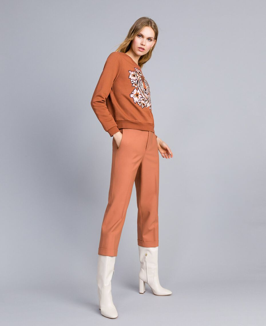"Bi-stretch wool trousers ""Earth"" Brown Woman TA827R-02"