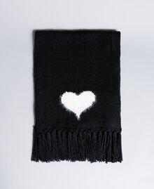 Strickschal mit Herz Zweifarbig Schneeweiß / Schwarz Frau AA8P5A-01