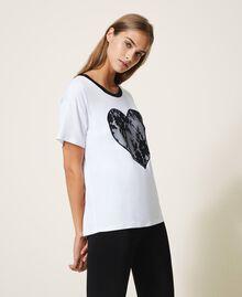 T-shirt avec cœur en dentelle Blanc Femme 202LI2NAA-02