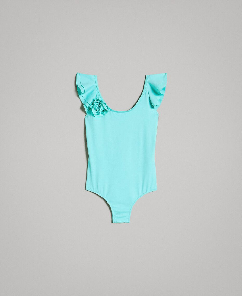 "One-piece swimsuit with flower ""Island Paradise"" Light Blue Child 191GJM906-01"