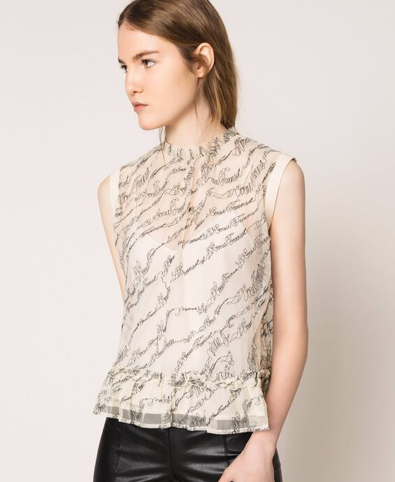 Tulle top with embroidered logo