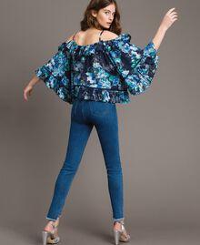 Jean skinny avec découpes ornées de strass Bleu Denim Femme 191MT2461-03
