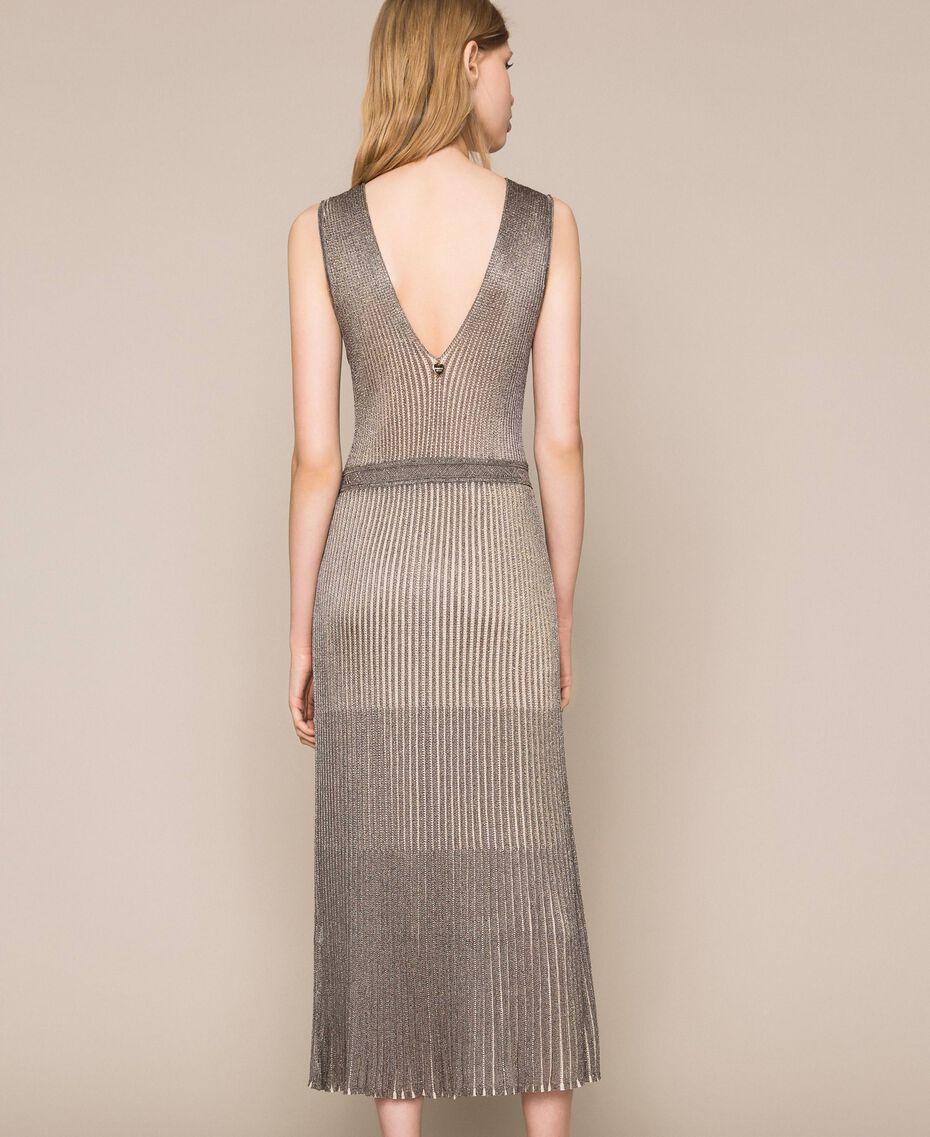 Vestido largo de tejido de lúrex Multicolor Plata Mujer 201TT3051-03