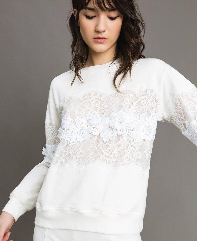 Sweatshirt mit Spitze und Makramee Milchweiß Frau 191TP2592-01