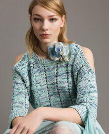 Collier en strass avec fleur Bleu Mykonos Clair Femme 191TA431H-0S