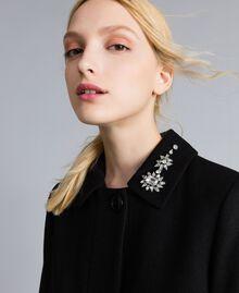 Manteau en drap avec broderie Noir Femme SA82RD-02