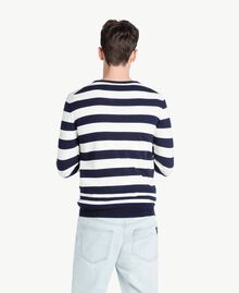 Pull rayures Bicolore Blanc Opaque / Bleu Blackout Homme US8317-03
