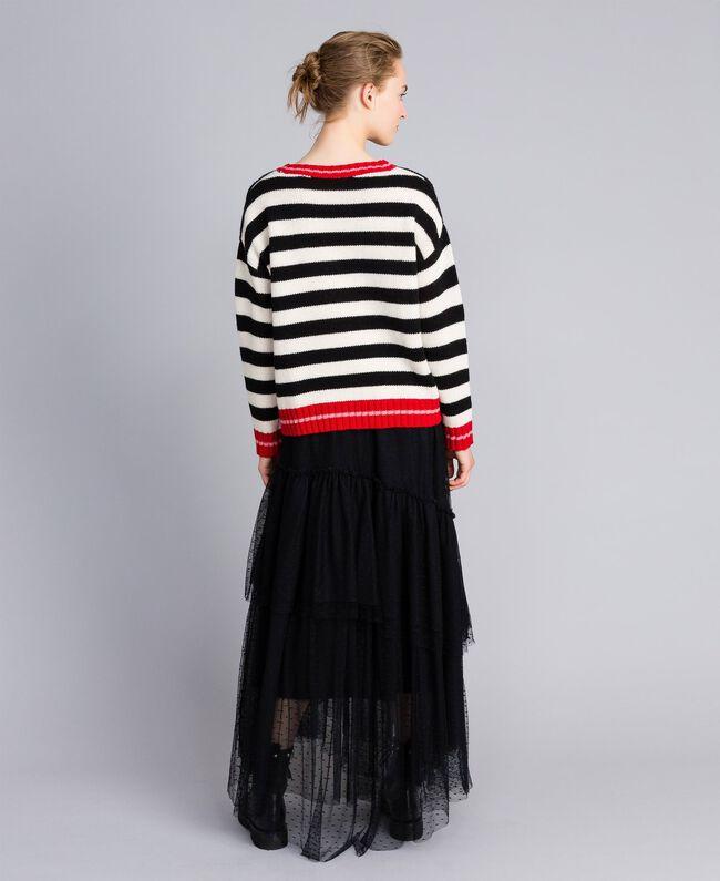 """Wool blend jumper """"Snow"""" White / Black Stripe Woman PA83HR-03"""