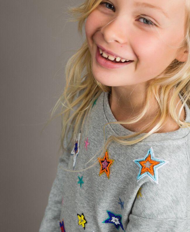 Sweat shirt en coton stretch avec broderies étoiles Gris clair chiné Enfant 191GJ2321-04