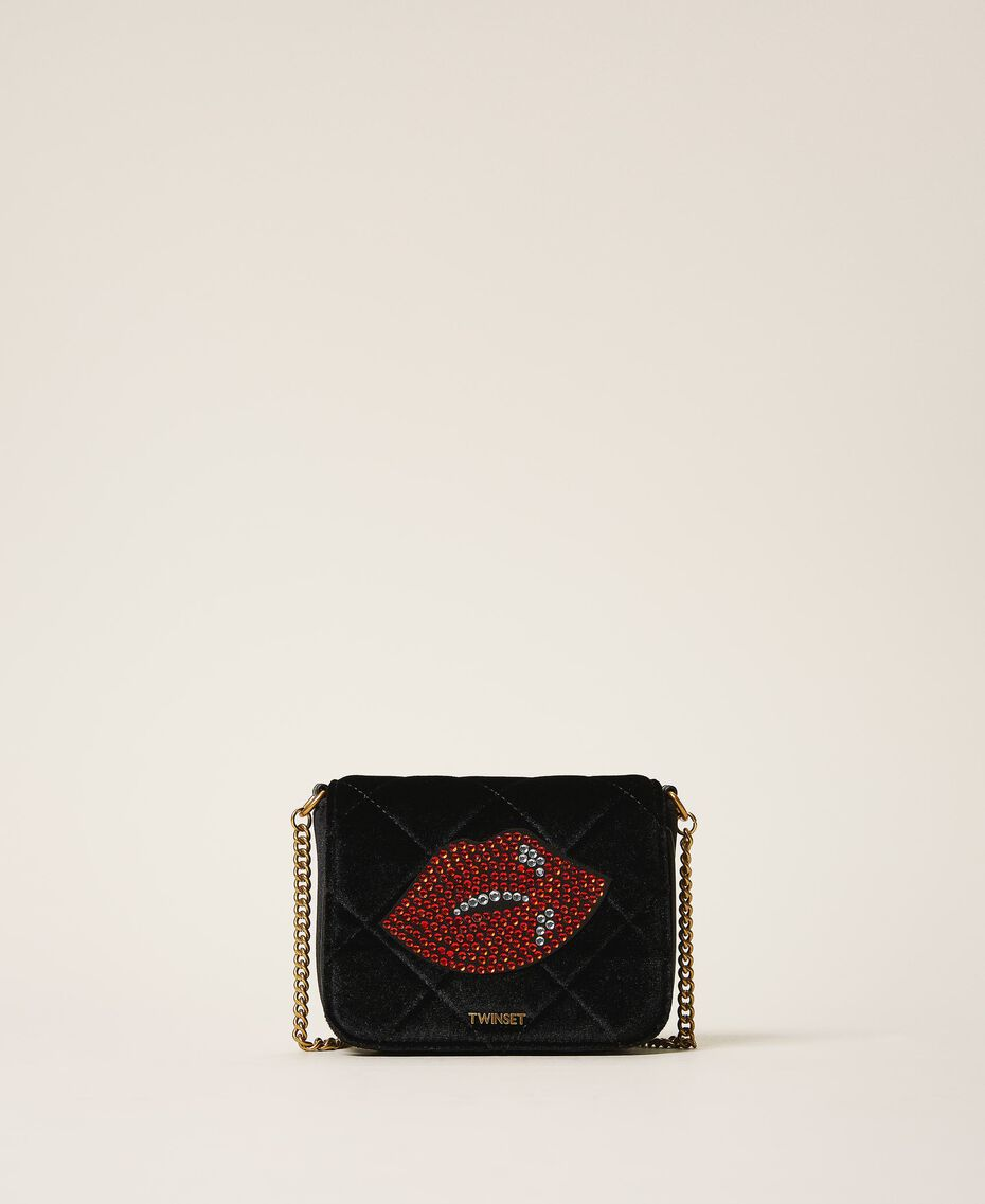 Velvet shoulder bag with patch Black Woman 202TD8280-01
