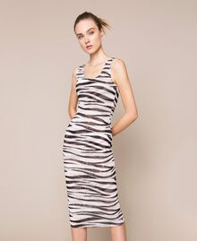 Animal print tulle sheath dress Zebra Print Woman 201TQ201D-01