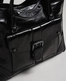 Leather shopper with decorative buckle Black Woman 192TO7235-03