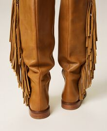 """Leather boots with fringes """"Cigar"""" Beige Woman 212TCP106-03"""