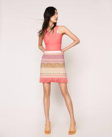 Short skirt with fringes Multicolour Pink Jacquard Woman 201TT3163-01
