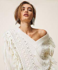 Maxijersey de lana y alpaca con bordado Blanco Nata Mujer 202TT3355-05