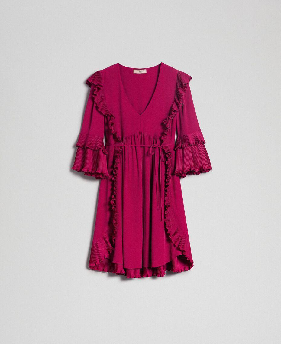 Kleid aus Crêpe de Chine aus Seidenmischung Rote-Bete-Rot Frau 192TP2102-0S