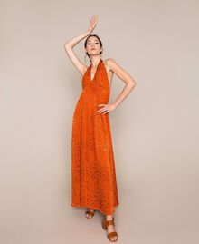 "Long jacquard dress with floral design ""Ace"" Orange Woman 201LB2HAA-03"