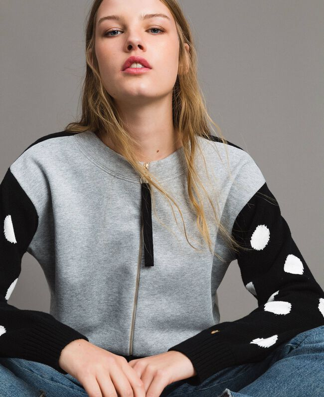 Plush cardigan-top with polka dots and stripes Multicolour Light Melange Grey / Black / White Woman 191MP3120-01