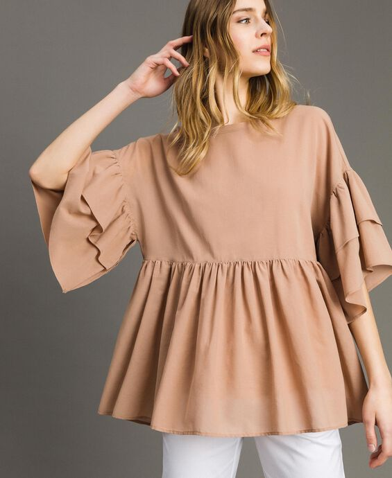 Wide sleeve blouse with flounce