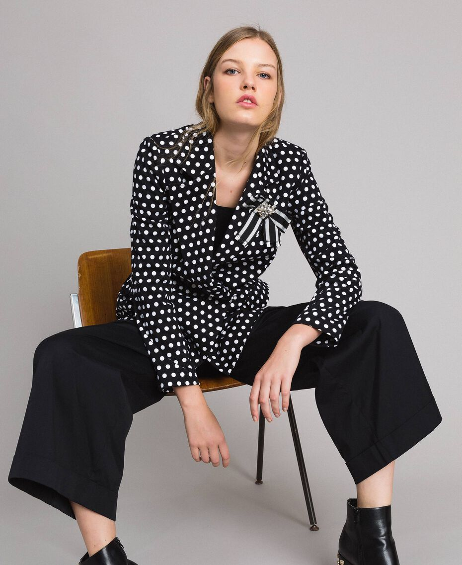 Veste blazer à pois Bicolore Noir / Blanc Femme 191MP2360-01