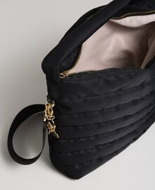Padded hobo bag with shoulder strap Black Woman 192TO8063-05