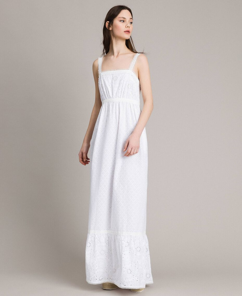Broderie anglaise long dress with flounce White Woman 191MT2033-02