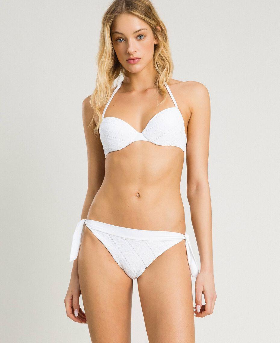 Push-up-Bikinitop mit Lochstickerei Weiß Frau 191LBME44-0S