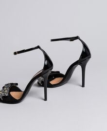High-heel suede sandals with bow Black Woman CA8PG1-02