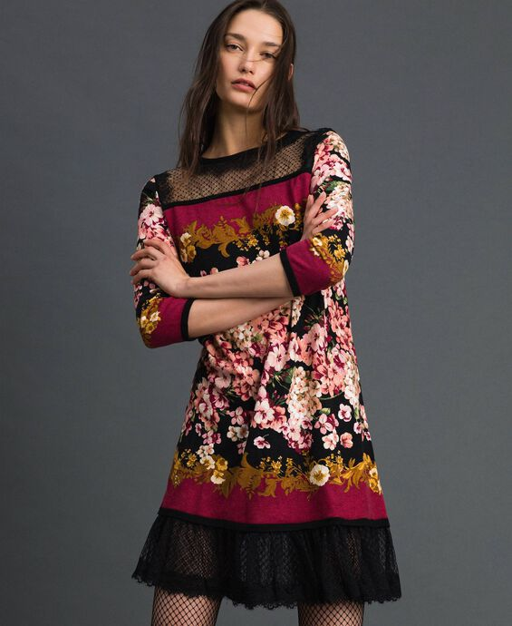Dress with floral scarf print and lace