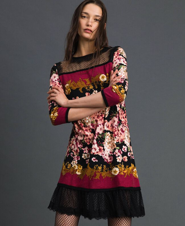 Dress with floral scarf print and lace Scarf Print Woman 192TP3361-01