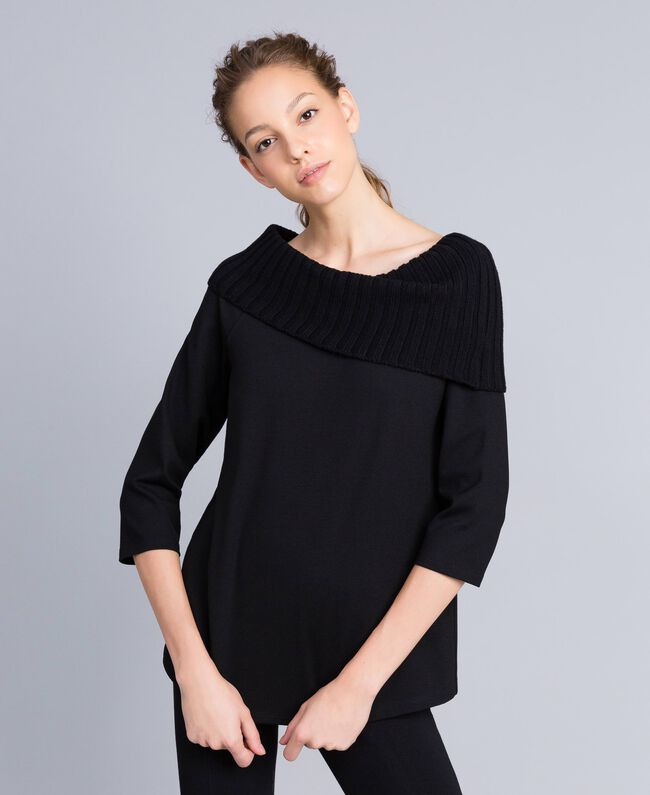 Milan stitch A-line jumper Black Woman PA8215-01