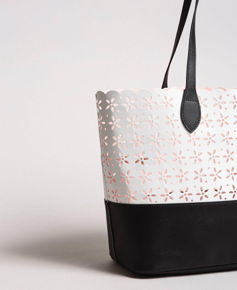 Cabas en similicuir avec motif floral Bicolore Blanc Neige/ Noir Femme 191TA7160-03